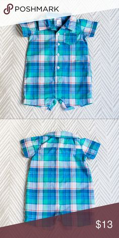 LIKE NEW Carter's Baby Boys Blue Plaid Romper LIKE NEW! Worn once by my son before he outgrew it. Adorable, preppy, plaid romper. Great for spring and summer! Washed once and laid flat to dry. Never put in the dryer. Open to reasonable offers! Lots of baby boy clothes listed... bundle and save!!  PRODUCT FEATURES — 5 buttons — Short sleeves — Inseam snaps — 1 pocket on chest — Plaid pattern Carter's One Pieces Bodysuits