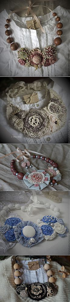 "Territory of BOHO: Textile jewelry of the master of ""Ирина Мацокина"" - Necklace. Lace Jewelry, Textile Jewelry, Fabric Jewelry, Jewelry Crafts, Handmade Jewelry, Jewellery, Fabric Rosette, Fabric Art, Fabric Flowers"