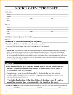 Free Eviction Notice Form. Free Eviction Notice Template.download ...   Eviction  Letter Format
