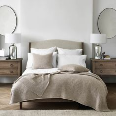 We do love to add a little symmetry to the home. Shop our 'Chiltern Thin Metal Oval Mirror' and 'Ardleigh Wide 2 Drawer Bedside Table' from the bio. Mirrored Bedroom Furniture, Mirrored Nightstand, Bed Furniture, Staging Furniture, Nightstand Ideas, Furniture Makeover, Furniture Design, Bedroom Sets, Dream Bedroom