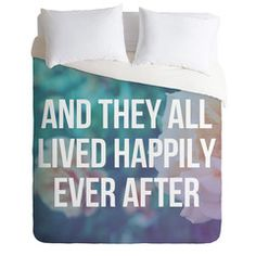 Leah Flores Ever After Duvet Cover #happy #typography #home #decor