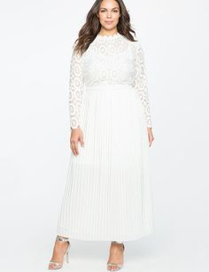 Lace Evening Dress with Pleated Skirt from eloquii.com