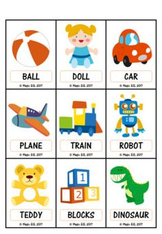 Toys -  Flashcards + Minicards English Teaching Materials, Learning English For Kids, English Lessons For Kids, Kids English, Kids Learning, Kindergarten Classroom Decor, Kindergarten Colors, Classroom Freebies, Color Flashcards