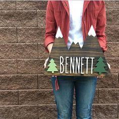 Woodland Nursery Mountains Wood Sign Home Decor Custom #ad