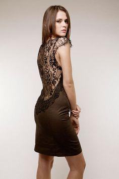 secret PAL- edles Kleid dunkelbraun schwarz Spitze von Secret Pal auf DaWanda.com