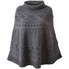 turtleneck knit poncho pattern -