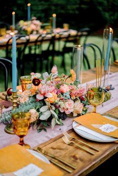 Outdoor Dinner Parties, Dinner Party Table, Backyard Birthday Parties, Birthday Dinners, Floral Wedding, Wedding Flowers, Atlanta Wedding, Arte Floral, Wedding Decorations