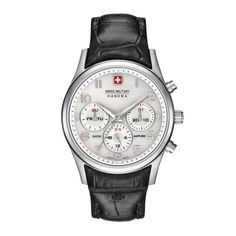 Swiss Military Women's Quartz Watch Silver Face And Black Leather Strap - Fashion Wear, Fashion Brand, Tommy Hilfiger, Retro Watches, Black Watches, Women's Watches, Military Women, Luxury Watches, Rolex