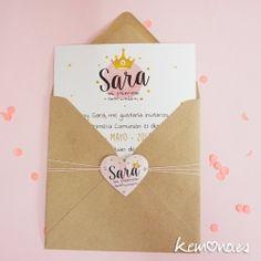 Invitación Comunión niña, estilo princesa y papel kraft