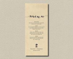 Printable menu - Rustic Background with black. $18.00, via Etsy.