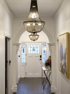 The Block 2017: While the judges weren't too keen on the mishmash of period features (Victorian archway paired with Art Deco cornices), we loved everything about Ronnie and Georgia's hallway. The restored archway teamed with modern chandeliers was the perfect blending of old and new, something we think Ronnie and Georgia did really well throughout the entire home.