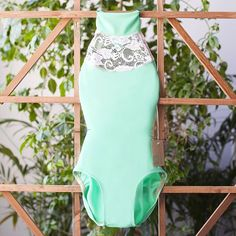 Collar leotard for dance handmade with seafoam spandex and white lace!