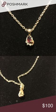 18k gold filled Garnet pendant, chain is 12k gf Very dainty and lovely it's a .42k and 3 small diamonds Jewelry Necklaces