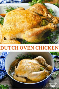 Crisp on the outside, juicy on the inside, this Dutch Oven Chicken is a versatile, easy dinner idea! Garlic and fresh herbs season the whole roasted chicken, which pairs perfectly with potatoes, rice, or biscuits. Dutch Oven Whole Chicken, Baked Whole Chicken Recipes, Oven Roasted Whole Chicken, Roasted Chicken And Potatoes, Cooking Whole Chicken, Roast Chicken Recipes, Chicken And Vegetables, Chicken Meals, Recipe Chicken