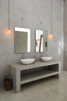 Cemcrete's Tranquil Bathroom Trends - Visi Cement Bathroom, Bathroom Wall Colors, Mold In Bathroom, Bathroom Furniture, Bathroom Faucets, Concrete Countertops Bathroom, Bathroom Cabinets, Minimalist Home Decor, Minimalist Bathroom