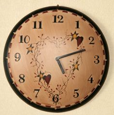 Product Listing - Furnishings - Star Hear Wall Clock - Start 2015 with the right time.  Available at http://www.countrymoments.net  for $21.95 - Blessings!