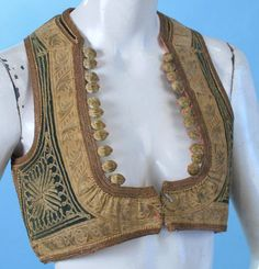Ottoman Gold Tambour and Embroidered Cropped Vest