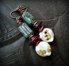 Lampwork Glass Lampwork Headpins Primitive Organic Rustic Earthy Roman Glass Beaded Earrings () by YuccaBloom - handmade - jewelry - jewellery - artisan - etsy