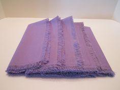Linen Blend Fabric Napkins with Fringed Edges  Set of by vertzvkv