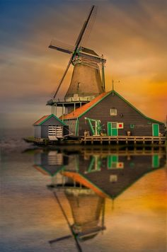 Reflection of a Windmill at the Zaanse Schans.