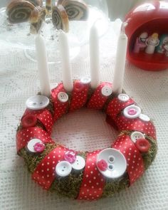 Christmas - Decoration Advent wreath Xmas red and white buttons Christmas Wreaths, Christmas Decorations, Xmas, Holiday Decor, Advent Wreath, Red And White, Buttons, Create, Home Decor