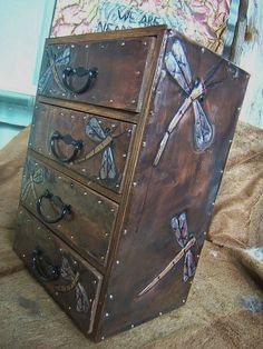 Art Nouveau Dragonfly Four Drawer Organizer by KopperKitty on Etsy