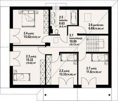 Plan etaj cu 4 dormitoare