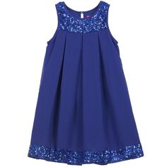 Royal Blue Chiffon Dress with Sequins Trim, Derhy Kids, Girl