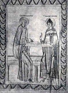 TICMUSart: Guy d'Arezzo et l'évêque Theobald devant un monocorde. S. XII (I.M.)