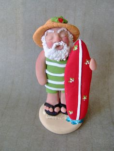 Santa Surfs Up  Polymer Clay Ornament by BarbarasClayMagic on Etsy, $17.50