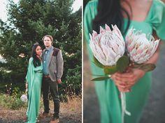 Love the bride's Jade Green Dress!!