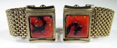 Gold Tone Wrap Cufflinks with Red Black Stone and Gold Flakes