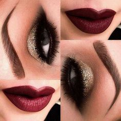 Holiday Makeup: Sparkles, Smokey, and Berry Change the gold shadow for a silver or grey shadow, and a brighter red lip…Another make-up idea for myself and the bridesmaids for the wedding. – Das schönste Make-up Pretty Makeup, Love Makeup, Makeup Tips, Makeup Looks, Makeup Ideas, Perfect Makeup, Makeup Style, Makeup Tutorials, Gorgeous Makeup