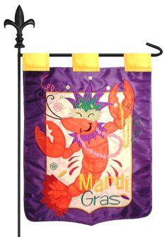 IAmEricas Flags - Mardi Gras Crawfish Double Applique Garden Flag, $18.00 (http://www.iamericasflags.com/mardi-gras-crawfish-double-applique-garden-flag/)