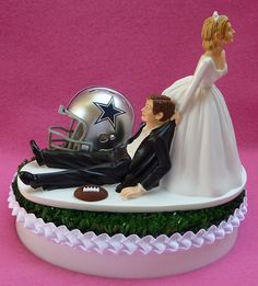 Wedding Cake Topper Dallas Cowboys Football Themed Sports Turf Topper w/ Garter, Display Box on Etsy, $59.99