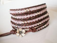 Rose Quartz 5X Leather Wrap Bracelet with Silver Plated  Button via Etsy