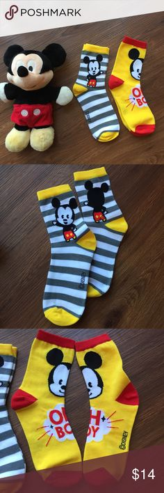 🚨HOST PICK🚨 Brand New Mickey Mouse Socks Taken out of packing just to take cute pictures to show you! Whether you at a Tsum Tsum collector or Pop! Funko collector these are for you!                      Size 6-9.     Bundle & Save 25%. Disney Accessories Hosiery & Socks