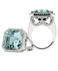 Cinderella 20ct green emerald cut Beryl cocktail ring with white diamonds by Calleija Jewellery.