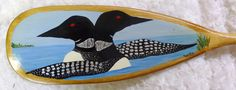 Loons at the Lake hand-painted canoe paddle by Doug Wilkie Canoe Paddles, Pinot Noir, Hand Painted, Wood, Crafts, Painting, Art, Art Background, Manualidades