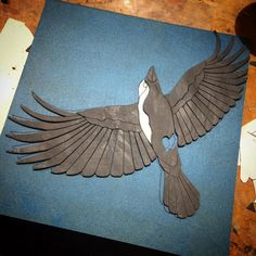 My new crow project is coming along nicely. I enjoy making wings the detail and execution of the cuts are rewarding.  #art #artist #artwork #birds #beautiful #crow #creative #design #earthy #fly #gallery #instagram #imagination #pnwcreatives #nature #in_progress #slate #tileaddiction #seattleartist by juliehaunart