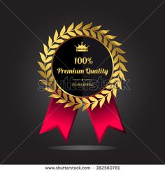 Premium quality guaranteed golden label. Premium quality golden badge, vector illustration - stock vector