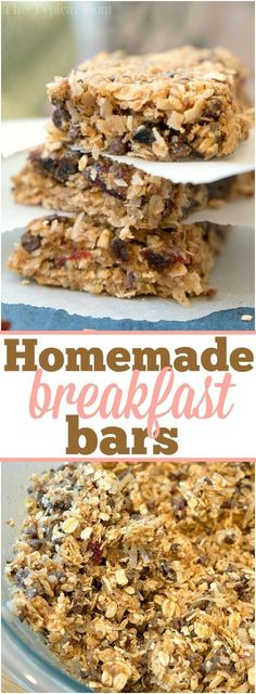 Recipes Snacks Bars These easy homemade granola bars are delicious and super chewy! Packed with oats, coconuts and a bit of chocolate they're great for breakfast or a snack! ad via The Typical Mom * Instant Pot Recipes * Ninja Foodi Recipes Homemade Breakfast Bars, Breakfast Bars Healthy, Snacks Homemade, Healthy Snacks, Breakfast Cookies, Breakfast Recipes, Protein Snacks, Healthy Homemade Granola Bars, Homemade Cereal Bars