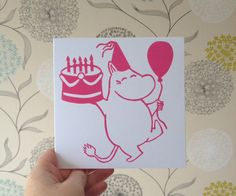 Moomin Birthday Card.  The Moomin's Linocut by TheLinoPrintShop, £2.60