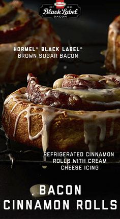 It's time to break breakfast. Hide savory slices of Maple Brown Sugar bacon between these sweet cinnamon roll curls, and make a meal worth drooling over. Bacon Cinnamon Rolls, Bacon Breakfast, Tasty, Yummy Food, Cream Cheese Icing, Bacon Wrapped, Brunch Recipes, Label, Dishes