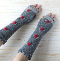 Long Fingerless Gloves Grey #sheepWool #Fingerless #Mittens #sheep #wool #armwarmers #Handknit #knitting
