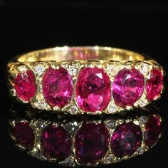 Antique Victorian 5 Stone Ruby and Diamond Ring in 18k Gold - Natural Rubies c. 1900.