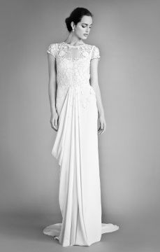 runway Laelia Floral Dress. Capped sleeve lace dress. #DBBridalStyle. (i love capped sleeves and lace covered chest)