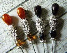 4 Owl Beaded Decorative Handmade 2 inch Stick Pins - Sewing Pins - Scrapbook Cardmaking Embellishment Pins - Mixed Media Findings - SPB21