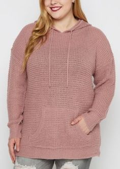 Keep your style on point while staying warm in this modern spin on a traditional hoodie. It's made of thick waffle knit with rib knit trim and an adjustable hood. It's perfect for slipping over a tee with your favorite jeans.