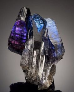 Rare Superb Tanzanite Cluster | #Geology #GeologyPage #Mineral Locality: Merelani Mines Arusha Tanzania Measures: 3 1/2 x 2 1/2 x 2 in Photo Copyright Bonhams Geology Page www.geologypage.com
